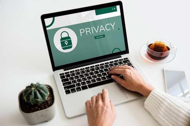 cyber security and data privacy on laptop